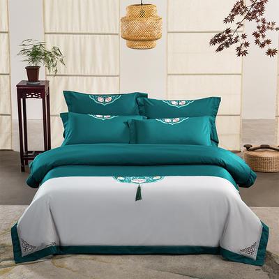 (总)60s支长绒棉埃及棉新中式古典古风刺绣花四件套多件套3 1.5m(5英尺)床 沐婉清灰绿