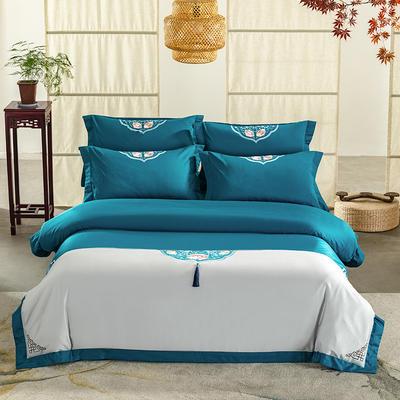 (总)60s支长绒棉埃及棉新中式古典古风刺绣花四件套多件套3 1.5m(5英尺)床 沐婉清兰灰