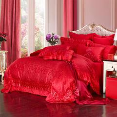 糖果联盟 婚庆四件套大红刺绣高档床品六十全棉纯棉 爱在玫瑰园 2.0m(6.6英尺)床 四件套