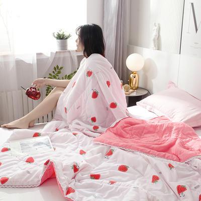 2021春夏新品水洗棉夏被 150x200cm 猫咪爱草莓