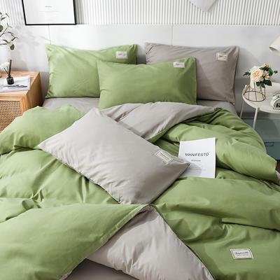 2020新款纯色磨毛四件套 1.5m床单款四件套 果绿灰