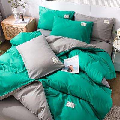 2020新款纯色磨毛四件套 1.5m床单款四件套 抹绿灰