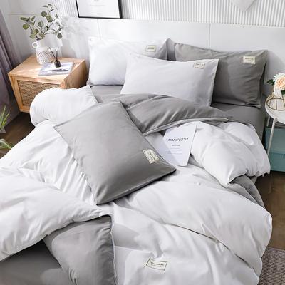 2020新款纯色磨毛四件套 1.5m床单款四件套 白深灰