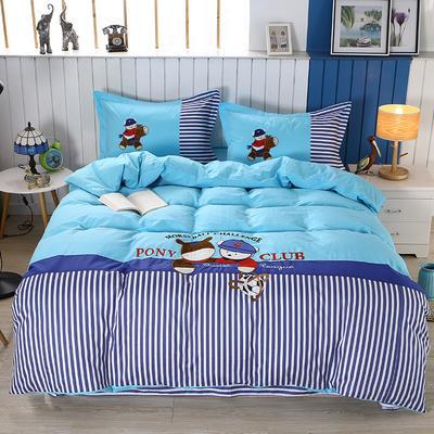 2020新款全棉儿童卡通绣花套件 1.2m床单三件套(送方垫套一个48*48) 酷宝贝