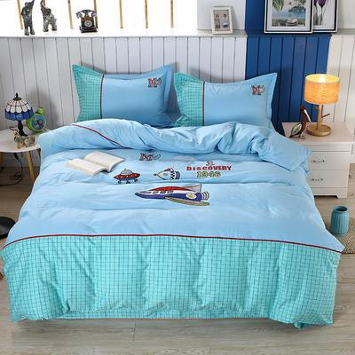 2020新款全棉儿童卡通绣花套件 1.2m床单三件套(送方垫套一个48*48) 快乐星球