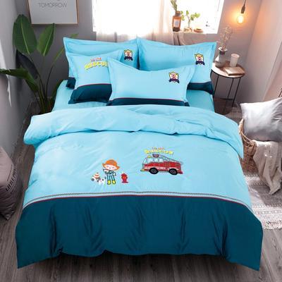 2020新款全棉儿童卡通绣花套件 1.2m床单三件套(送方垫套一个48*48) 小小消防员
