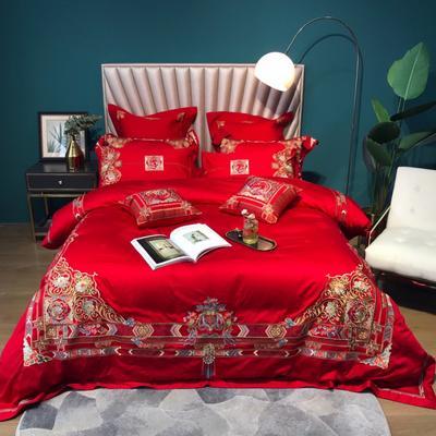 2021新款100s全棉提花AB版刺绣婚庆系列四件套 1.5m床单款四件套 门当户对