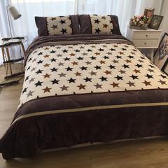 进口宝宝绒加厚雕花绒接拼四件套 1.5m(5英尺)床 浪漫星空拼色款
