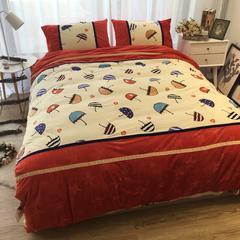 进口宝宝绒加厚雕花绒接拼四件套 1.5m(5英尺)床 缤纷雨下接拼款