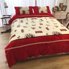 进口宝宝绒加厚雕花绒接拼四件套 1.5m(5英尺)床 摩登英伦红接拼款