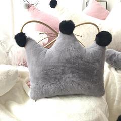 兔毛系列抱枕 小皇冠 皇冠抱枕50*40CM可脱卸 贵族灰