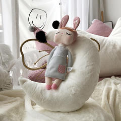 兔毛系列抱枕 月亮 月亮 不可脱卸55*40CM 贵族白