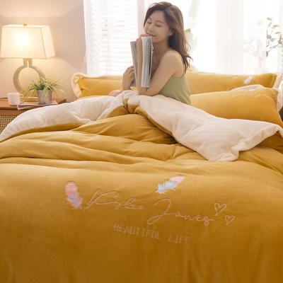 2020新款牛奶绒刺绣四件套 1.8m床单款四件套 爱尚飞羽一姜黄