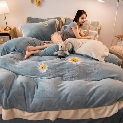 2020新款牛奶绒刺绣四件套 1.5m床单款四件套 太阳花 湖蓝