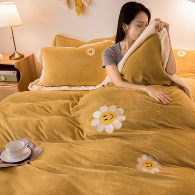 2020新款牛奶绒刺绣四件套 1.5m床单款四件套 太阳花 姜黄
