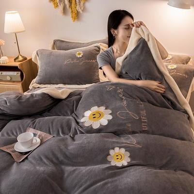 2020新款牛奶绒刺绣四件套 1.5m床单款四件套 太阳花 浅灰