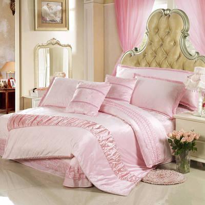 玫瑰绒套件冬季保暖玫瑰绒四件套 标准四件套 粉色