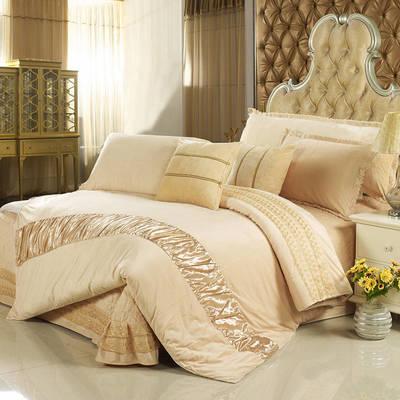 玫瑰绒套件冬季保暖玫瑰绒四件套 标准四件套 米驼