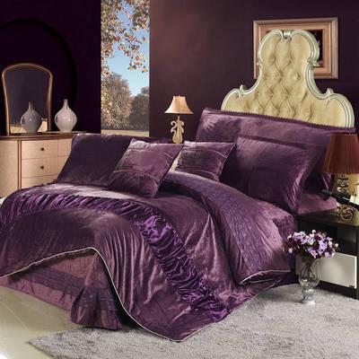 玫瑰绒套件冬季保暖玫瑰绒四件套 标准四件套 深紫