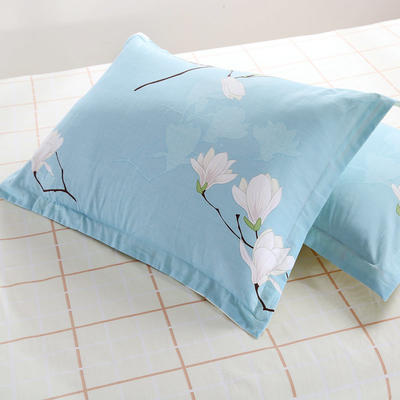全棉多规格系列(单品枕套)  一对装 48cmX74cm --2个装 如梦花季