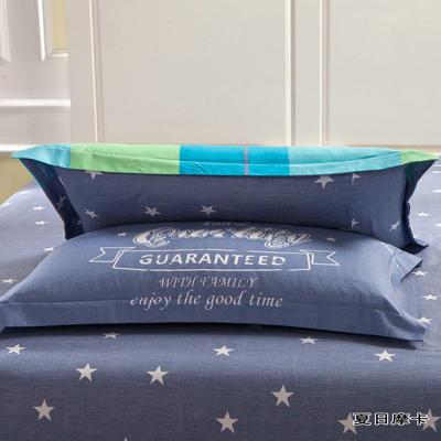全棉多规格系列(单品枕套)  一对装 48cmX74cm --2个装 夏日摩卡-蓝
