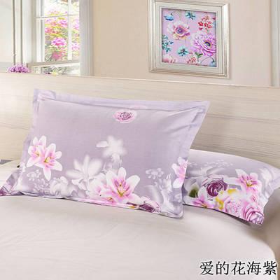 全棉多规格系列(单品枕套)  一对装 48cmX74cm --2个装 爱的花海紫