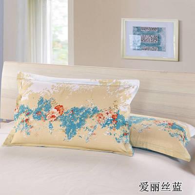 全棉多规格系列(单品枕套)  一对装 48cmX74cm --2个装 爱丽丝蓝