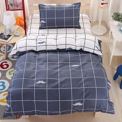 纯棉133*72全棉三件套 1.0m(3.3英尺)床 青春气息-蓝灰