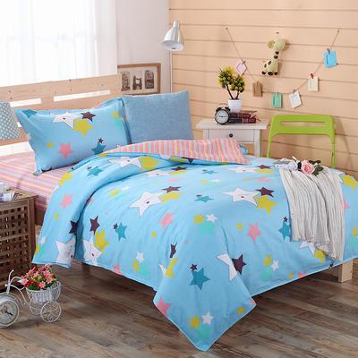 12868全棉三件套  纯棉学生宿舍三件套(总) 单人床三件套 动感星光-蓝