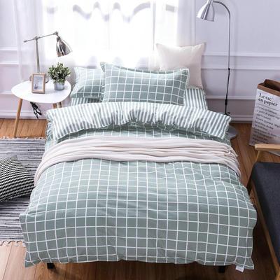 13372全棉三件套锁边暗线 155*205cm 1.0m(3.3英尺)床 优雅格调-绿