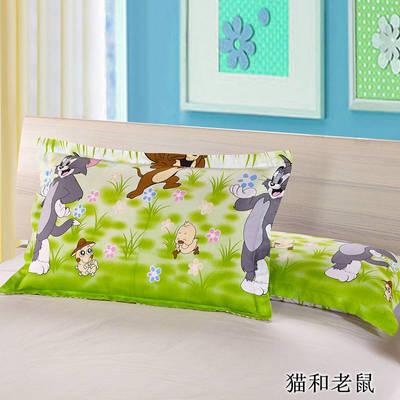 2020新款12868纯棉单品枕套 48cmX74cm/对 猫和老鼠