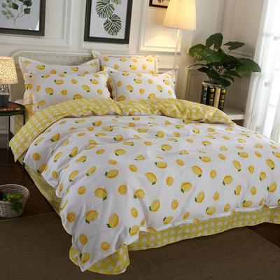 2020新款128X68纯棉四件套 1.5m床单款四件套 一颗柠檬