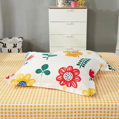 2020新款12868纯棉单品枕套 48cmX74cm/对 太阳花