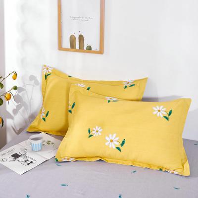 2020新款12868纯棉单品枕套 48cmX74cm/对 小雏菊 黄