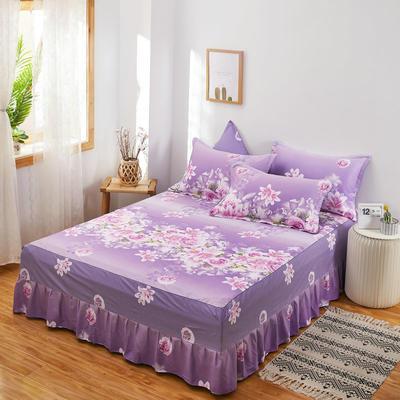 2020新款12868单品全棉床裙 150cmx200cm 爱的花海 紫