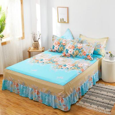 2020新款12868单品全棉床裙 150cmx200cm 爱丽丝 蓝