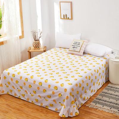 2020新款128X68全棉单品贴边床单 250cmx270cm 一颗柠檬