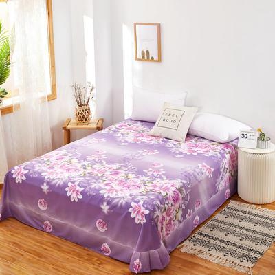 单品贴边床单2020新款128X68全棉规格250*270cm 250cmx270cm 爱的花海 紫