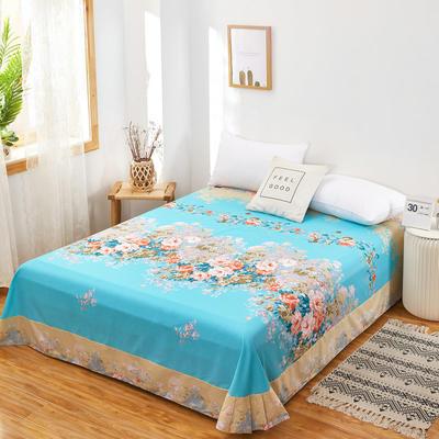 2020新款128X68全棉单品贴边床单 250cmx270cm 爱丽丝 蓝