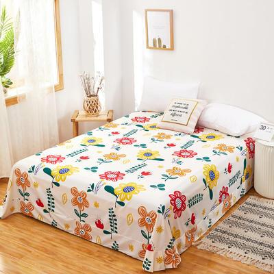 2020新款128X68全棉单品贴边床单 250cmx270cm 太阳花