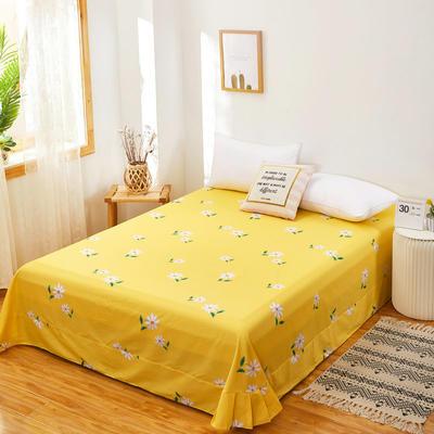 2020新款128X68全棉单品贴边床单 250cmx270cm 小雏菊 黄