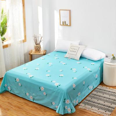 2020新款128X68全棉单品贴边床单 250cmx270cm 小雏菊 蓝