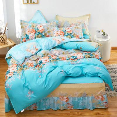 2020新款128X68多规格全棉床裙四件套 1.5m床裙款四件套被套180X220 爱丽丝 蓝