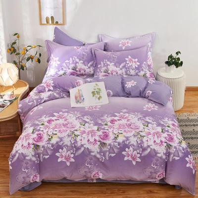 全棉12868四件套(总-全部花型) 200*230cm 爱的花海紫
