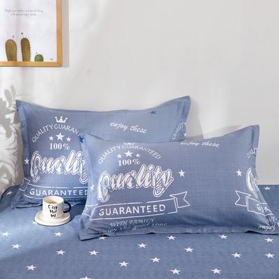 全棉多规格系列(单品枕套)全棉枕套  一对装 48cmX74cm --2个装 夏日摩卡-蓝