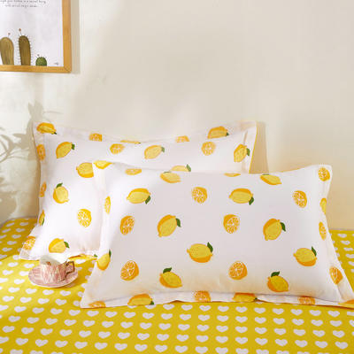 全棉多规格系列(单品枕套)全棉枕套  一对装 48cmX74cm --2个装 一颗柠檬
