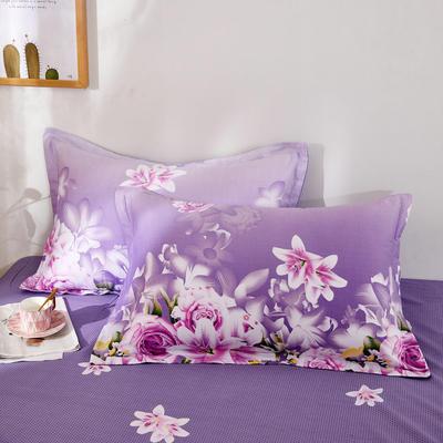2020新款12868纯棉单品枕套 48cmX74cm/对 爱的花海紫