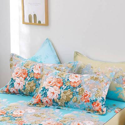 2020新款12868纯棉单品枕套 48cmX74cm/对 爱丽丝蓝