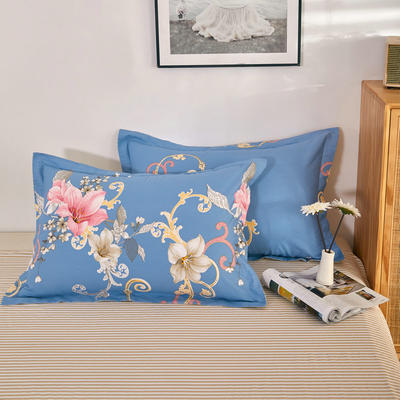 单品枕套2021新款12868全棉系列 48*74cm/对 花海 蓝