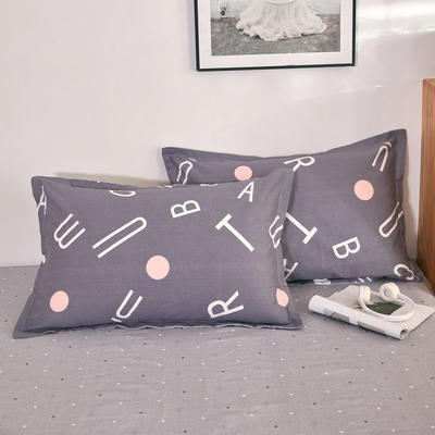 单品枕套2021新款12868全棉系列 48*74cm/对 英文空间 灰